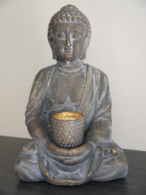 Stor buddha figur med ljushållare