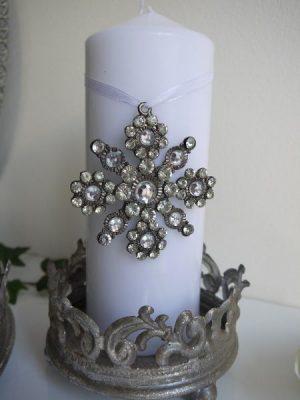 Ljus-dekoration med strass och band