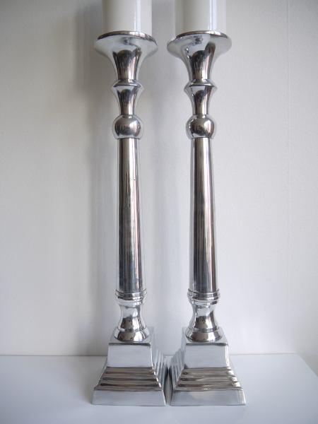 golvljusstake par silver