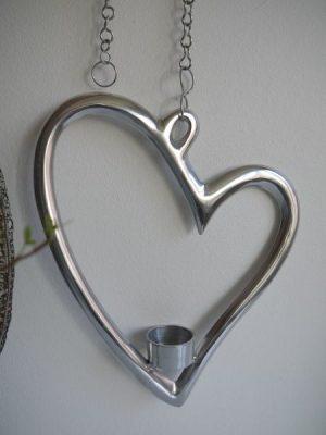 Hänghjärta till värmeljus silver