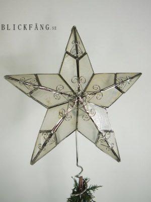 Vit Julgransstjarna med silver dekoration