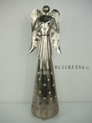 Hög ängel till ljus i matt silver-metall