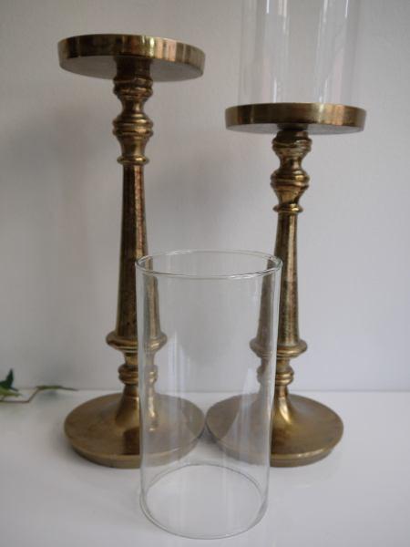 ljusstake brons glascylinder