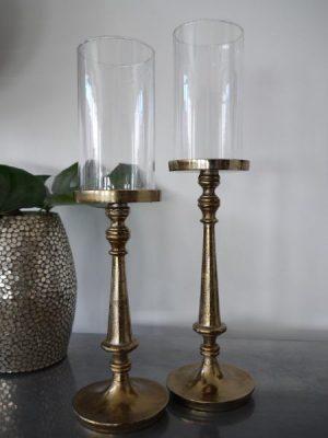 Ljusstake glascylinder brons. Besök Blickfång.se