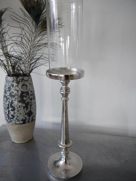 ljusstake silver glascylinder