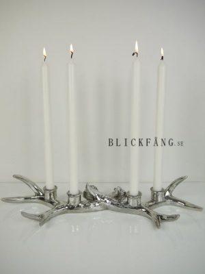 Horn-ljusstake i silver för fyra ljus