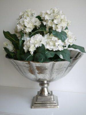 Stor skal på fot i silver till chamgagne eller blommor
