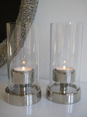 Ljuslykta glas och silver