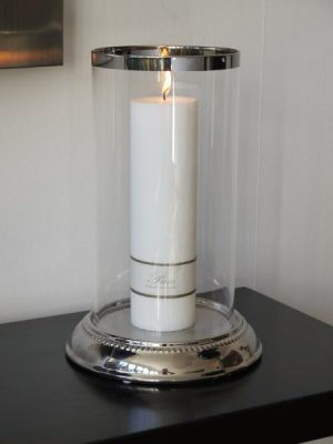 Stor rund ljuslykta glas silver