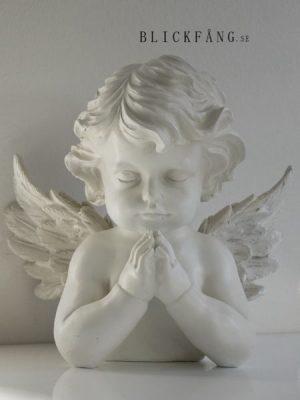 Fridfull och harmonisk vit ängel prydnadsfigur