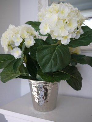 Konstgjord fyllig vit hortensia i innerkruka. Besök Blickfång.se