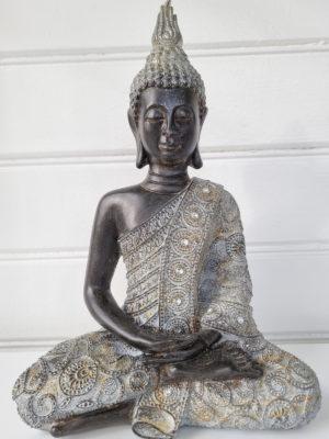 Buddha brun silver prydnadsfigur. Besök Blickfång.se