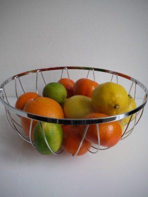 Fruktkorg i silver-metall