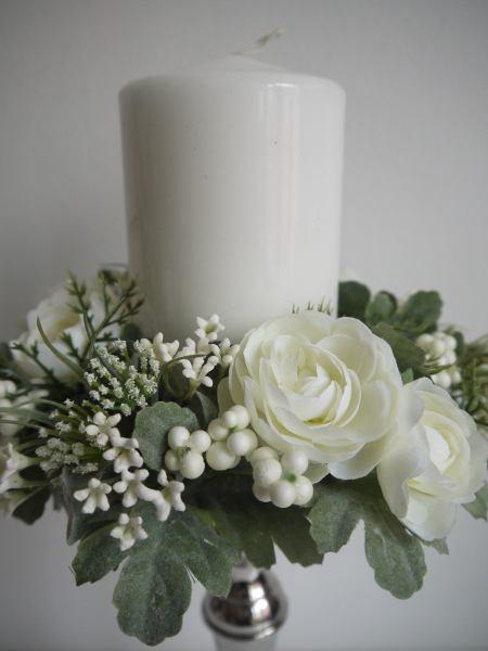 ljusmanschett-vita-blommor