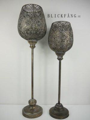 Brun golvlykta hålmönster metall