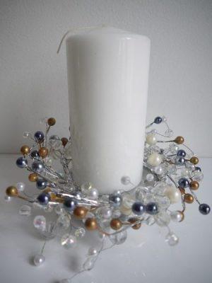 Ljusmanschett till blockljus med pärlor