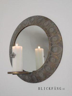 Rund spegellampett med metallram