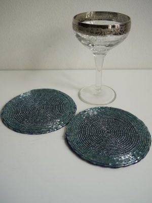 Glasunderlägg turkos pärlor