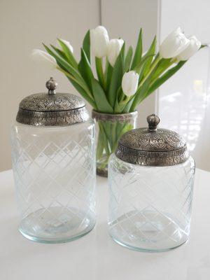 Glasburk med lock i silver