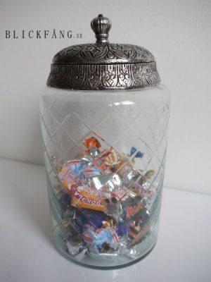 Glasburk med silverlock och rutigt mönster i glaset