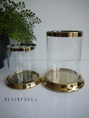 Ljuslykta guld med glascylinder