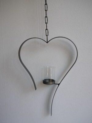 Svart häng-hjärta till värmeljus