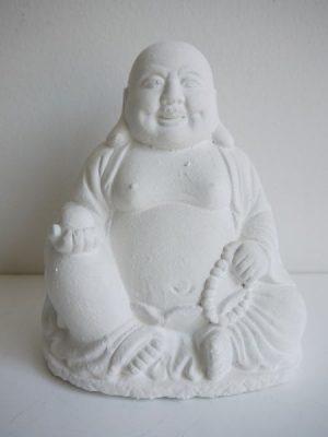 Vit tjock och glad buddha prydnadsfigur