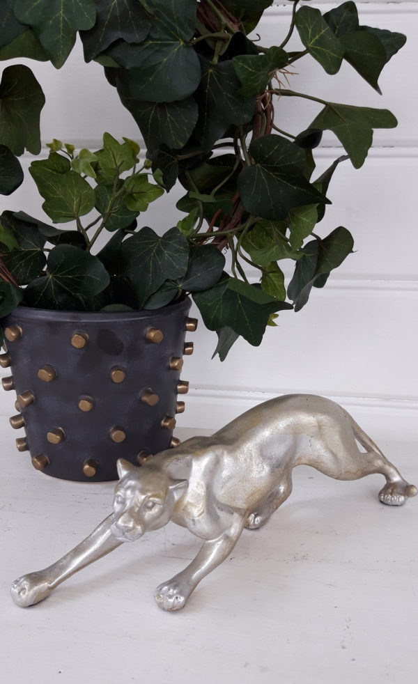 Leopard-prydnadsfigur-i-silver-och-guld