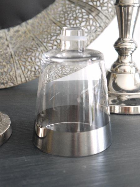 Glaskupa med silverkant