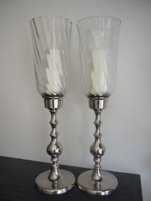 Ljusstake silver med glaskupa