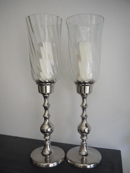 Ljusstake-silver-med-glaskupa