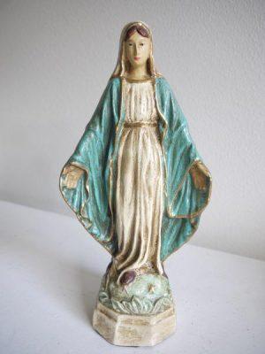 Madonna prydnadsfigur blå antik