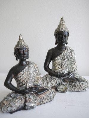 Prydnadsfigur brun buddha med silver