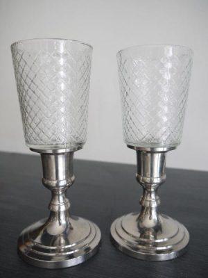 Liten rutig glaskupa till värmeljus. Besök Blickfång.se