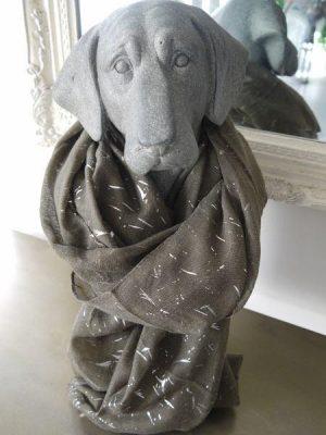 Stor mjuk scarf med mönster i silver