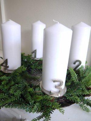 Adventssiffror till blockljus i silver