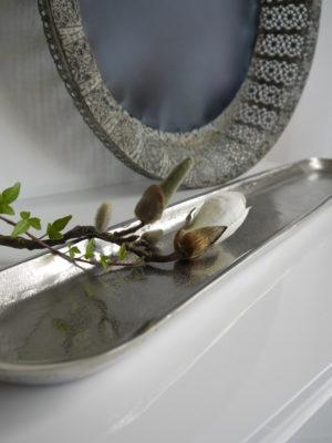 Avlångt fat ruff silver. Besök Blickfång.se