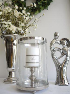 Ljuslykta silver med glascylinder