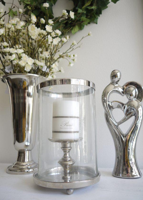 Ljuslykta-silver-med-glascylinder