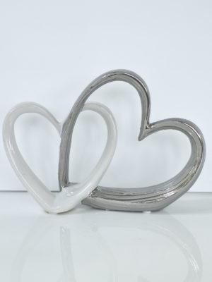 Vitt och silver hjärta prydnadssak. Besök Blickfång.se