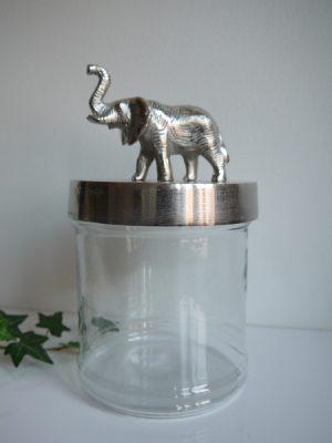 Glasburk med elefantlock i silver