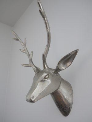 Hjort vaggtrofé i silver