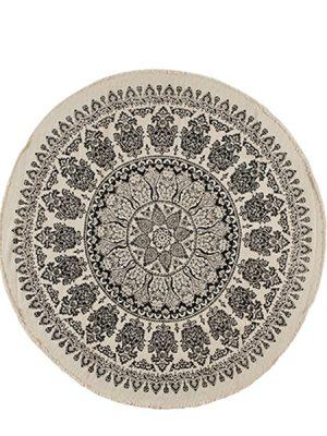 Rund matta svart och vitt