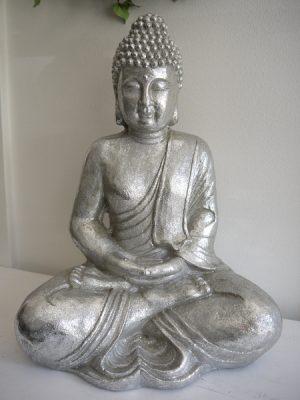 Stor sittande buddha i silver