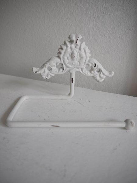 Toalettpappershallare-vit-gjutjarn