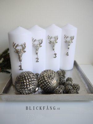 Adventssiffror silver med hjorthuvud