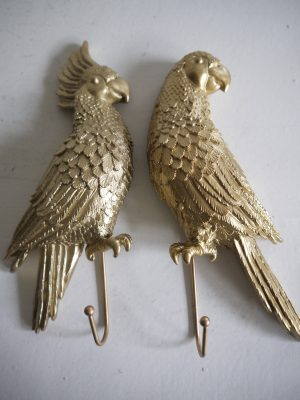 Papegoja krok i guld i set om 2 stycken