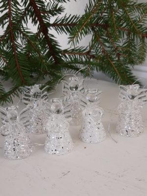 Liten glasängel med giltter. Besök Blickfång.se