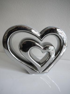 Dubbelt hjärta silver prydnad. Besök Blickfång.se