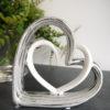 Dubbelt hjärta silver vitt. Besök Blickfång.se